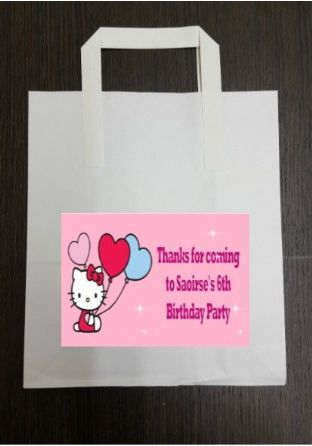 4 x Hello Kitty Birthday Party Bags with Personalised Sticker